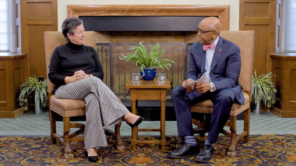 Dr. Crutcher interviews professor Carol Parish.