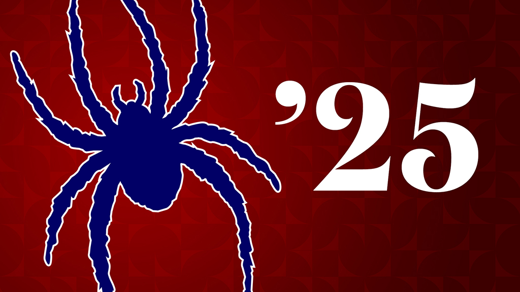 Class of 2024 Zoom Background: Spider on Red Background