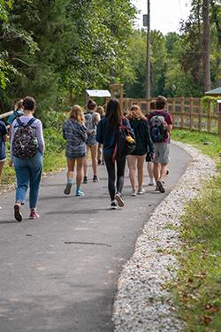 Students walking along eco-corridor