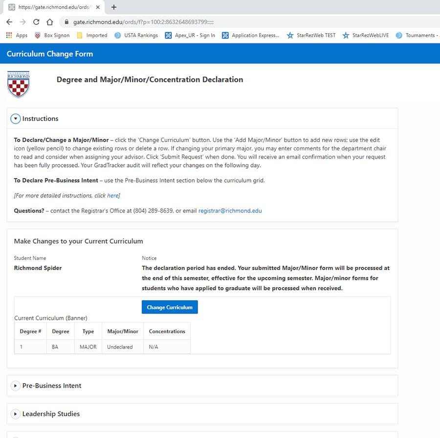 The Major/Minor Declaration form
