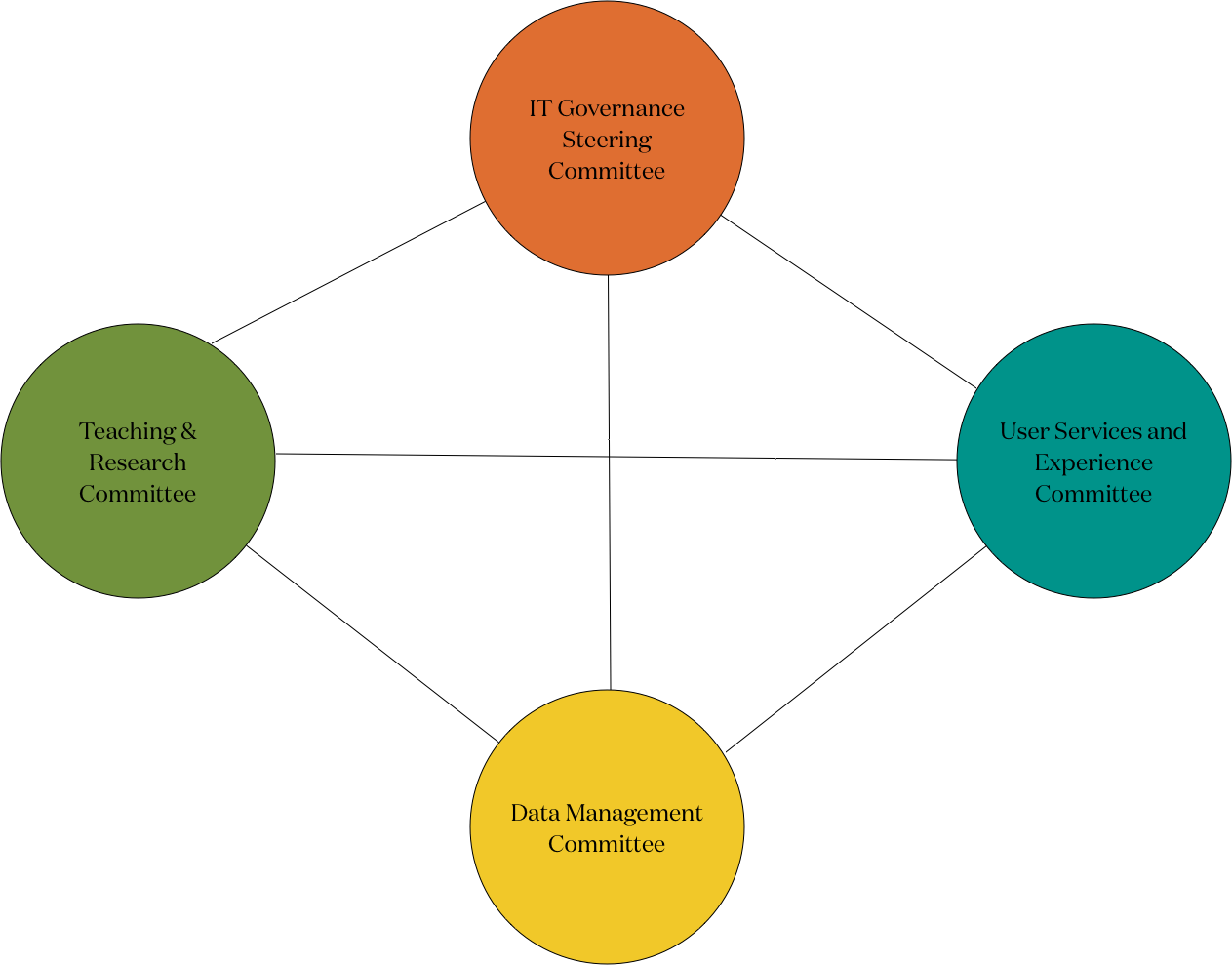 IT Governance Organizational Chart: IT Governance Steering Committee, Teaching & Research Committee, User Services & Experience Committee, Data Management Committee