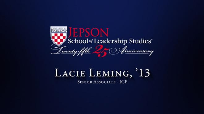 Lacie Leming, '13 - Senior Associate, ICF