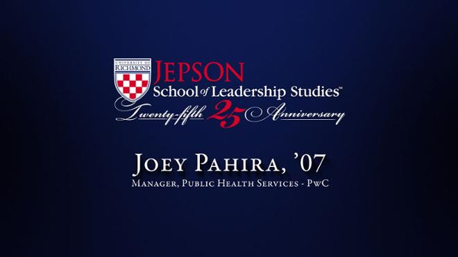 Joey Pahira, '07 - Manager, Public Health Services, PwC