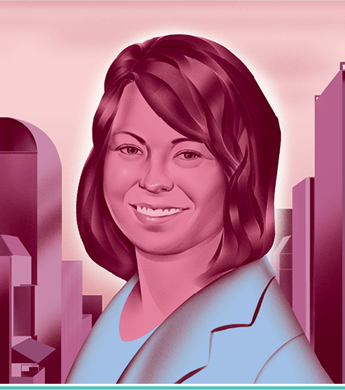 an illustrated portrait of Casey Emery, L'04