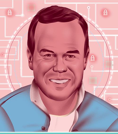 An illustrated portrait of Matt Dahl, L'09