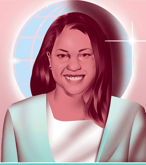 An illustrated portrait of Carley Dix, L'15