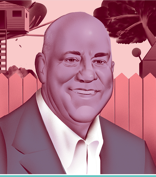 An illustrated portrait of Gary Piacentini, L'82