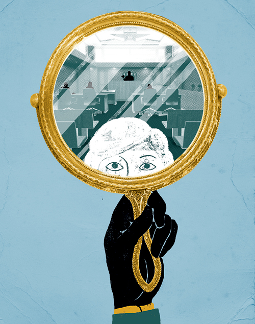 An illustration of a lawyer holding up a mirror and seeing themself and a courtroom in the background.