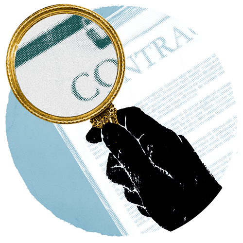 An illustration of a hand holding a magnifying glass over a contract.