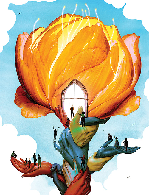Illustration of a flower growing up out of diverse hands, becoming a welcoming campus building