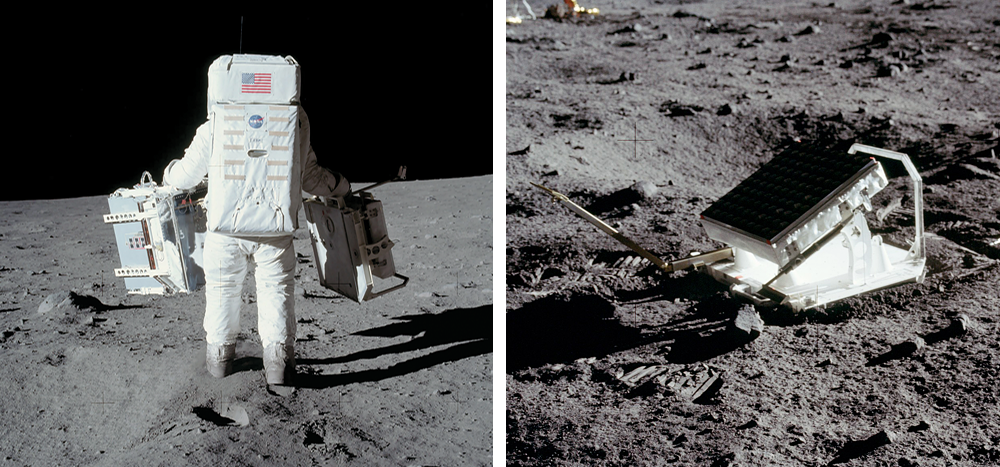 Buzz Aldrin, carrying the Laser Ranging Retroreflector, developed by Carroll Alley.