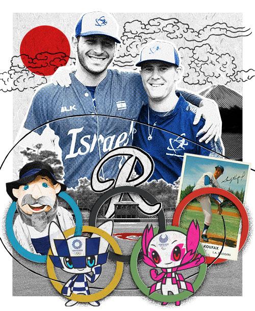 a collage showing Jonathan DeMarte and Nate Mulberg, with images representing University of Richmond baseball, Japan, and Israeli baseball