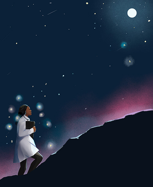 An illustration of a young black woman. She is wearing a lab coat and stethoscope, and is walking up a hill on a dark night, surrounded by bright stars and lightning bugs, with a full moon lighting her way.