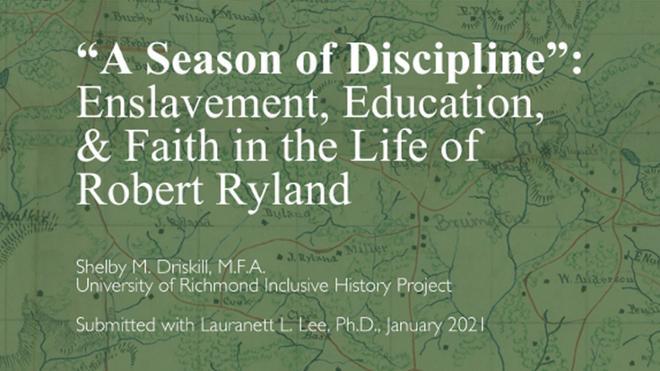 Robert Ryland: Final Report