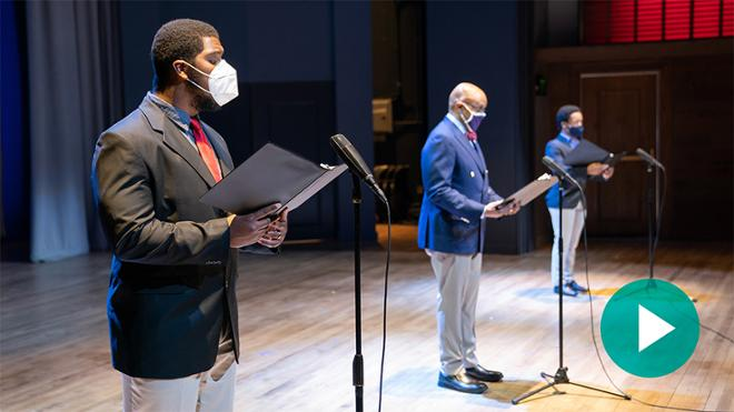 President Crutcher and students perform 'Lift Every Voice and Sing'