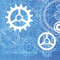 Illustration of cogs on blue background