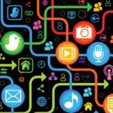 Illustration of multi-colored social media icons connected with colored lines