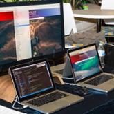 Digital presentation on two laptops