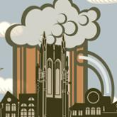 Beer stein illustration overlaid with UR Library tower