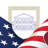 Virginia capitol on US flag background illustration