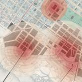 Map visualization with hot spots highlighted as red circles