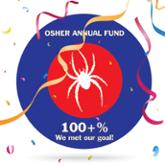 White spider illustration in red and blue circle with streamers