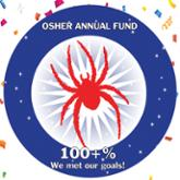 Red spider illustration in blue circle with confetti