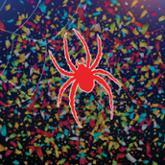 Red spider illustration with confetti