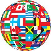 Orb made of flags from around the globe